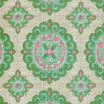 Vintage Green and Pink Geometric Wallpaper 8