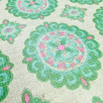 Vintage Green and Pink Geometric Wallpaper 11
