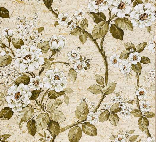 Vintage Green Floral Wallpaper On Imitation Cork1
