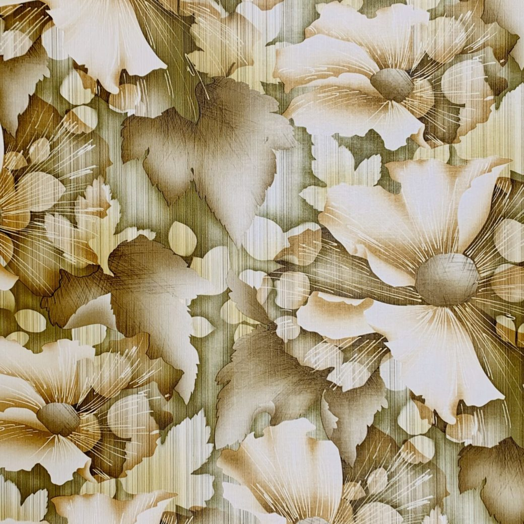 Vintage green floral wallpaper 1