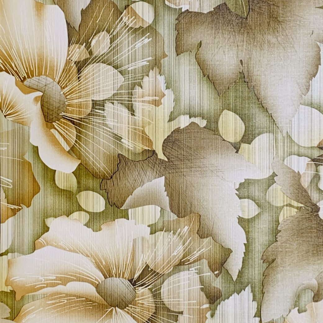 Vintage green floral wallpaper 3