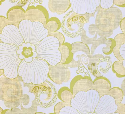 Vintage Green Large Pattern Flower Wallpaper1