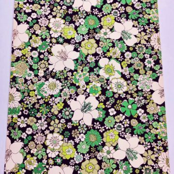 Vintage green on black floral wallpaper 1