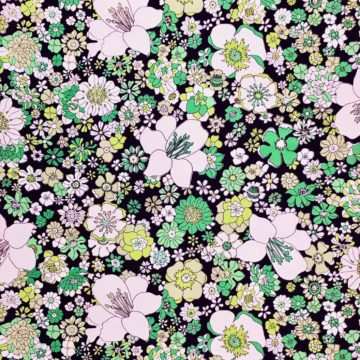 Vintage green on black floral wallpaper