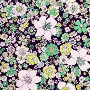 Vintage green on black floral wallpaper 4