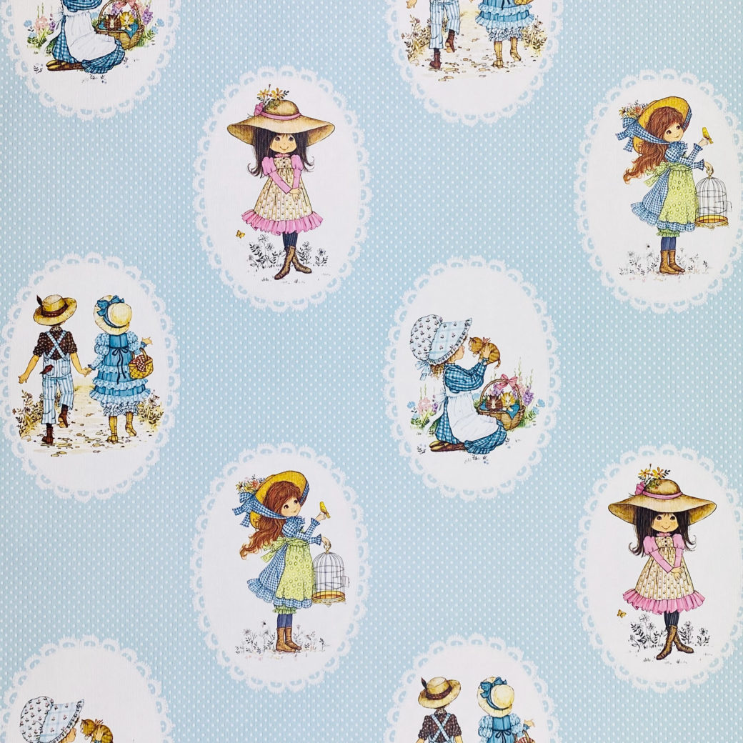Vintage Miss Petticoat Girls Blue Wallpaper 1