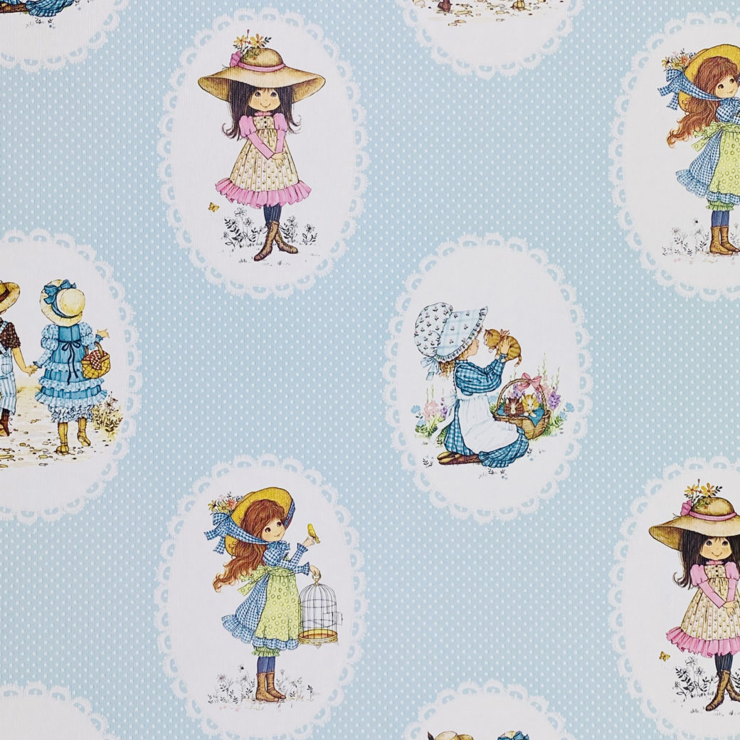 Vintage Miss Petticoat Girls Blue Wallpaper 2