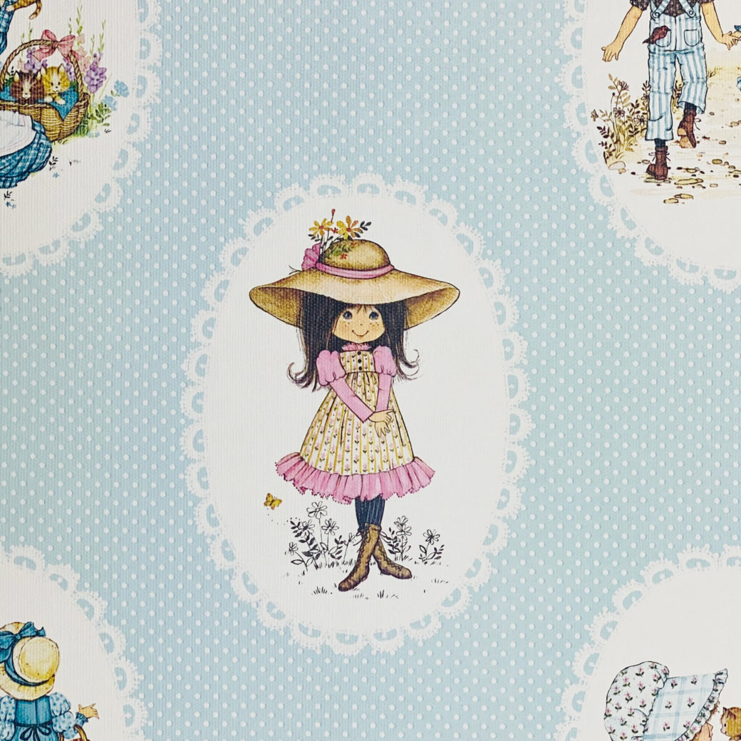 Vintage Miss Petticoat Girls Blue Wallpaper 3