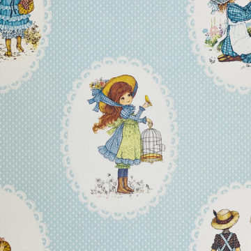 Vintage Miss Petticoat Girls Blue Wallpaper 4