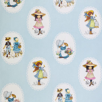 Vintage Miss Petticoat Girls Blue Wallpaper