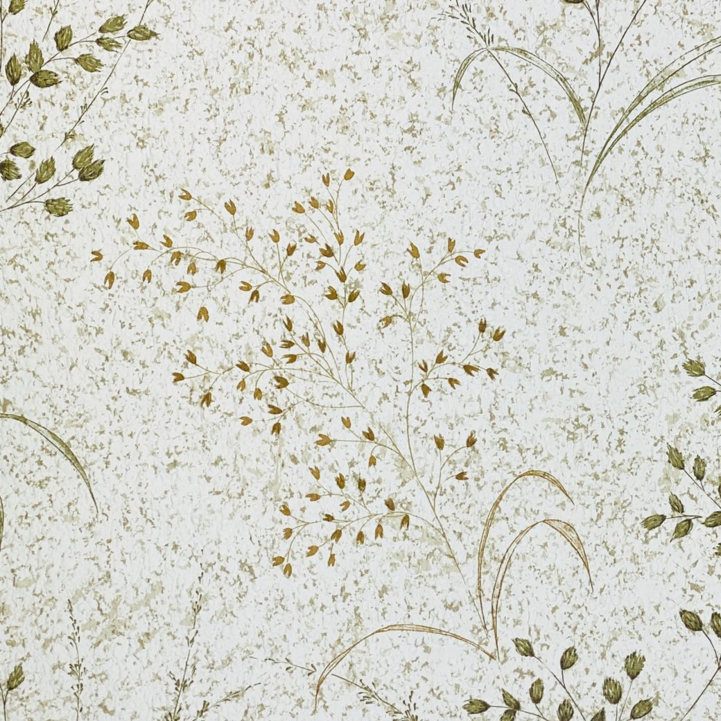 Vintage Nature Floral Wallpaper Green and Brown 6
