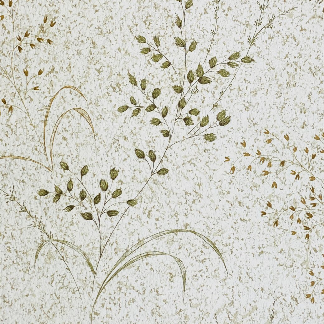 Vintage Nature Floral Wallpaper Green and Brown 7