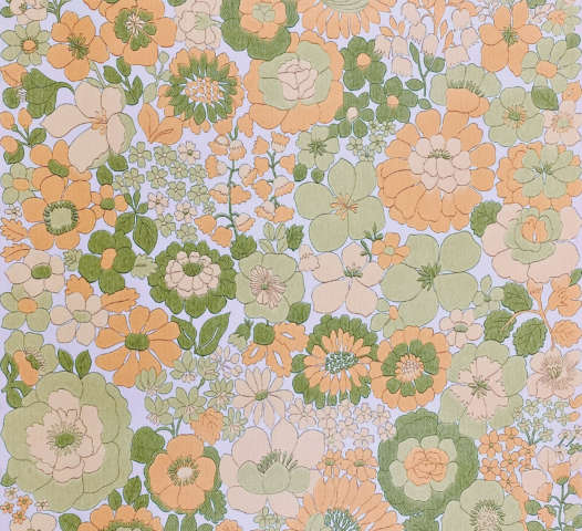 Vintage Orange and Green Floral Wallpaper