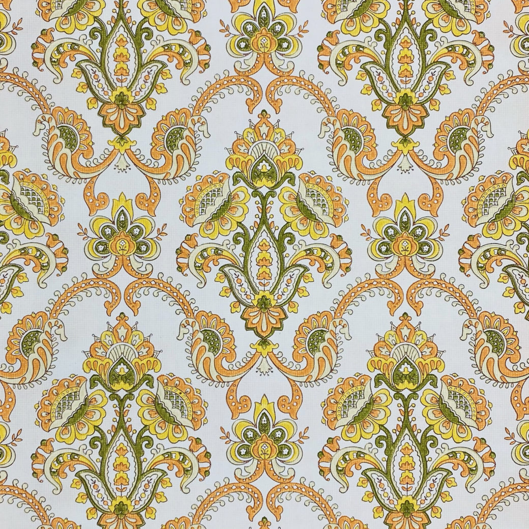 Vintage Orange Baroque Wallpaper 3