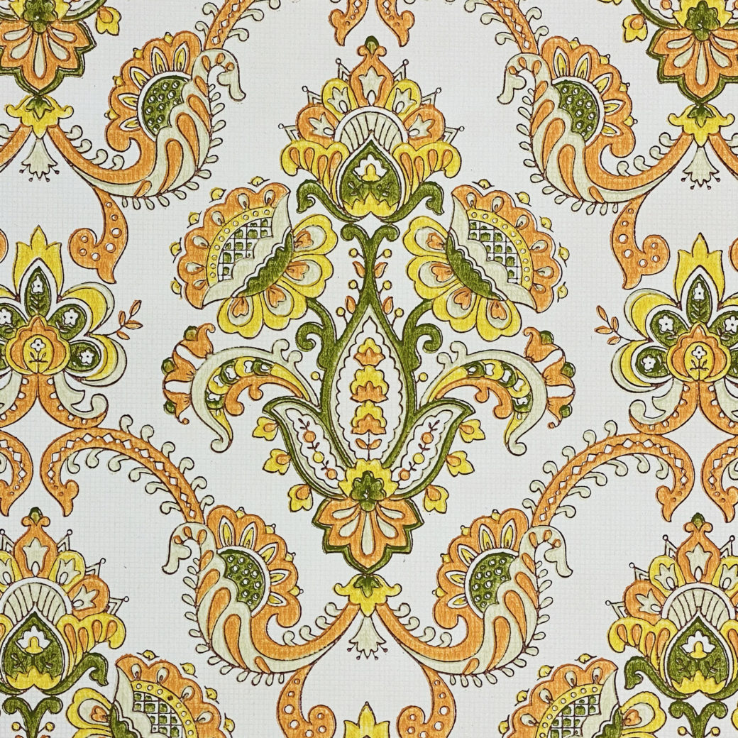 Vintage Orange Baroque Wallpaper 5