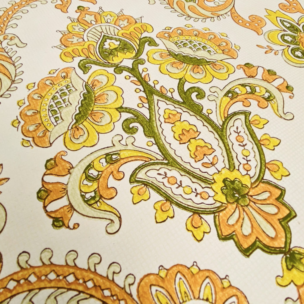 Vintage Orange Baroque Wallpaper 6