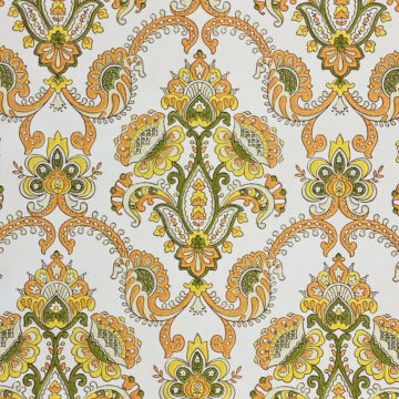 Vintage Orange Baroque Wallpaper 4