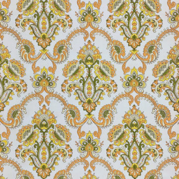 Vintage Orange Baroque Wallpaper