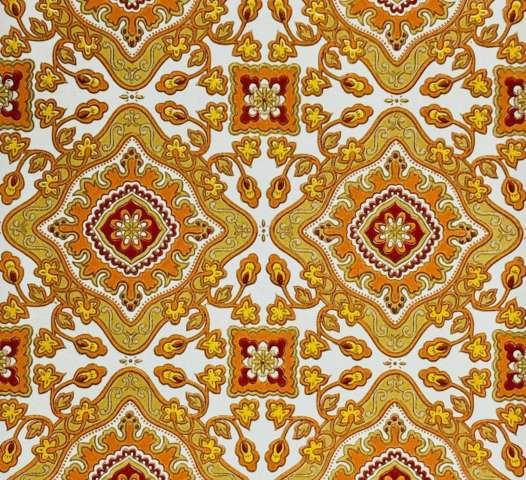 Vintage orange baroque wallpaper 1
