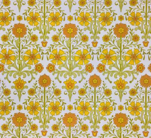 Vintage orange floral wallpaper 5