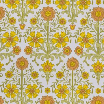 Vintage orange floral wallpaper 4