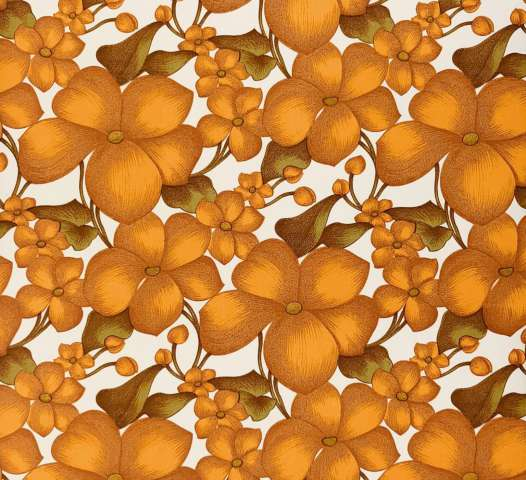 Vintage orange flowers wallpaper