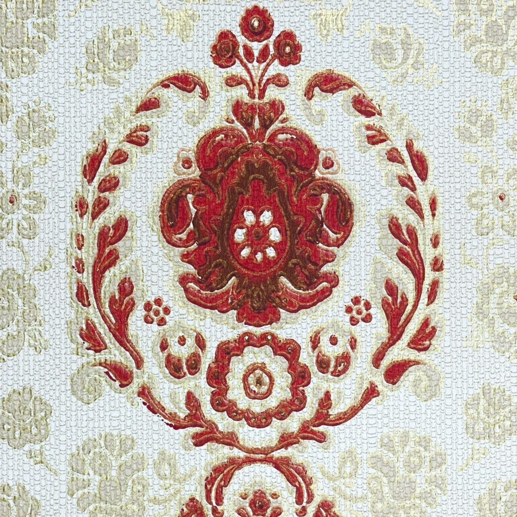Vintage Ornament Wallpaper Red and Gold 1