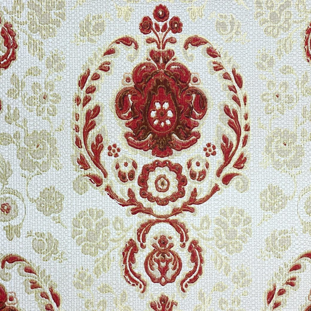 Vintage Ornament Wallpaper Red and Gold 2