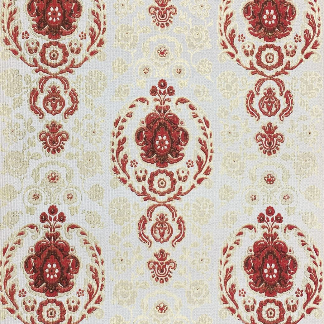 Vintage Ornament Wallpaper Red and Gold 6