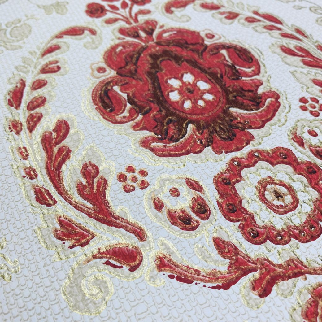Vintage Ornament Wallpaper Red and Gold