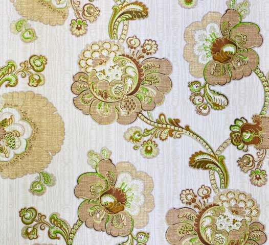 Vintage Paisley Floral Wallpaper Brown and Green 1