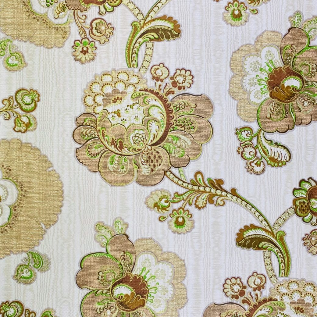 Vintage Paisley Floral Wallpaper Brown and Green 5