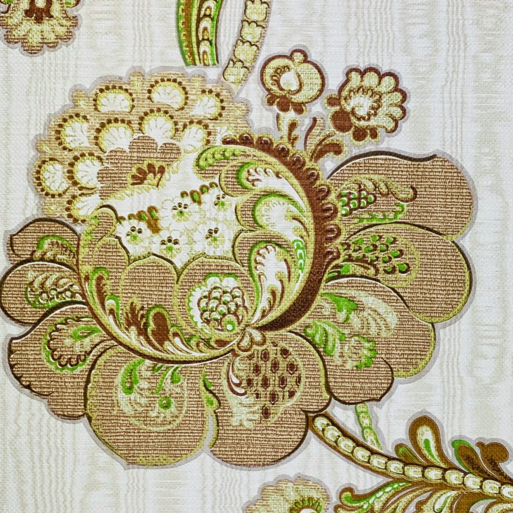 Vintage Paisley Floral Wallpaper Brown and Green 10