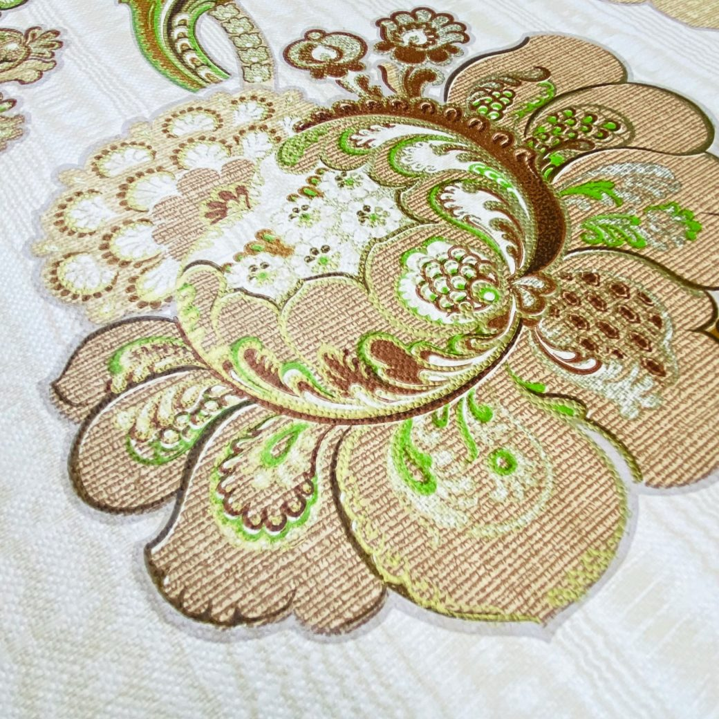 Vintage Paisley Floral Wallpaper Brown and Green 12