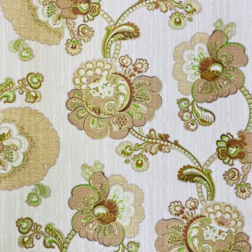 Vintage Paisley Floral Wallpaper Brown and Green 2