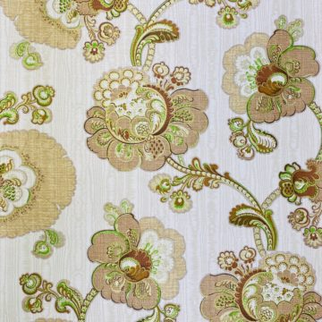 Vintage Paisley Floral Wallpaper Brown and Green 3