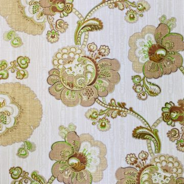 Vintage Paisley Floral Wallpaper Brown and Green 4