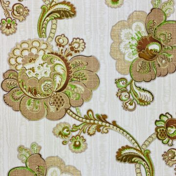 Vintage Paisley Floral Wallpaper Brown and Green 7