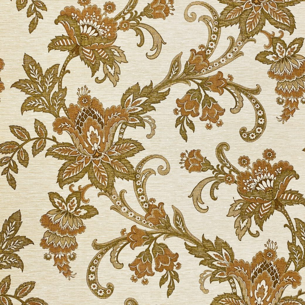 Vintage Paisley Wallpaper Brown and Green 1