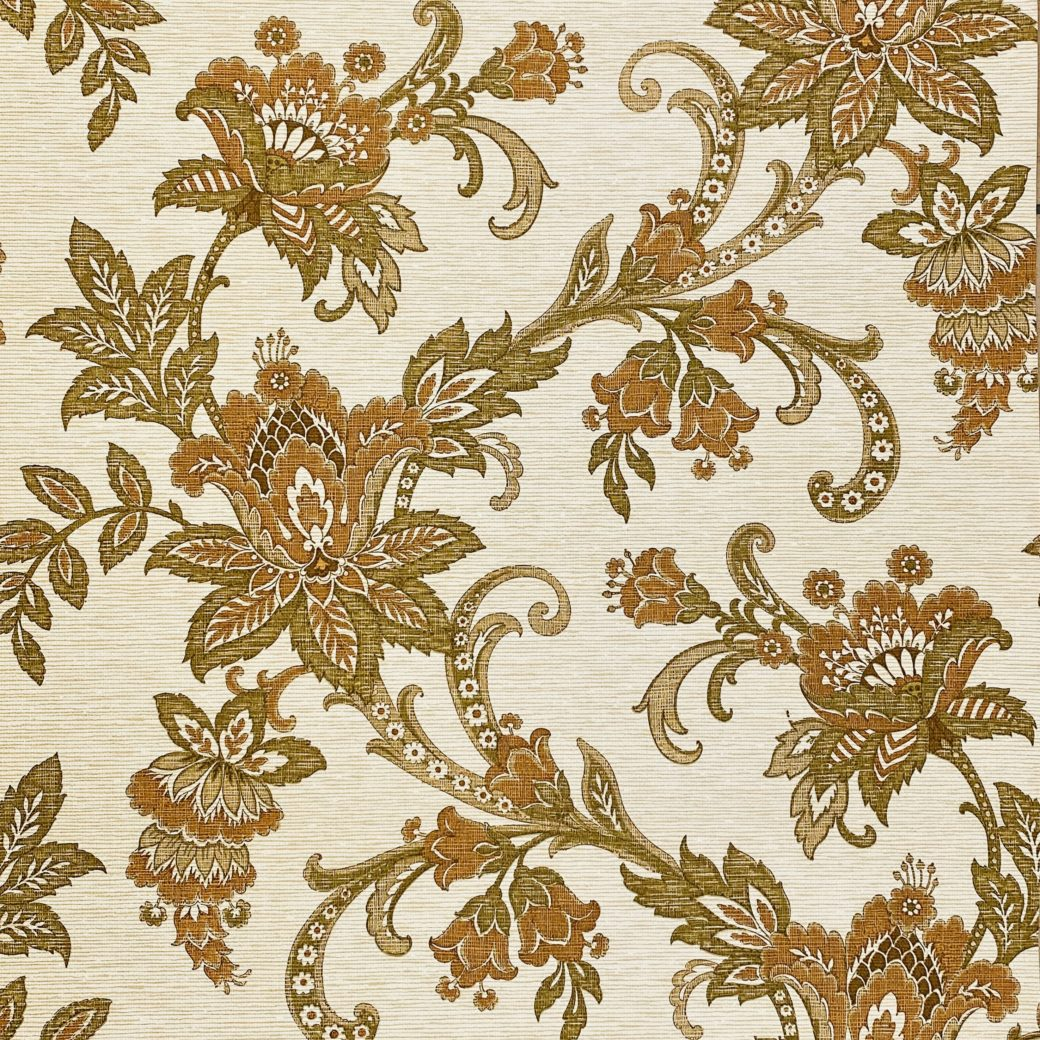 Vintage Paisley Wallpaper Brown and Green 2
