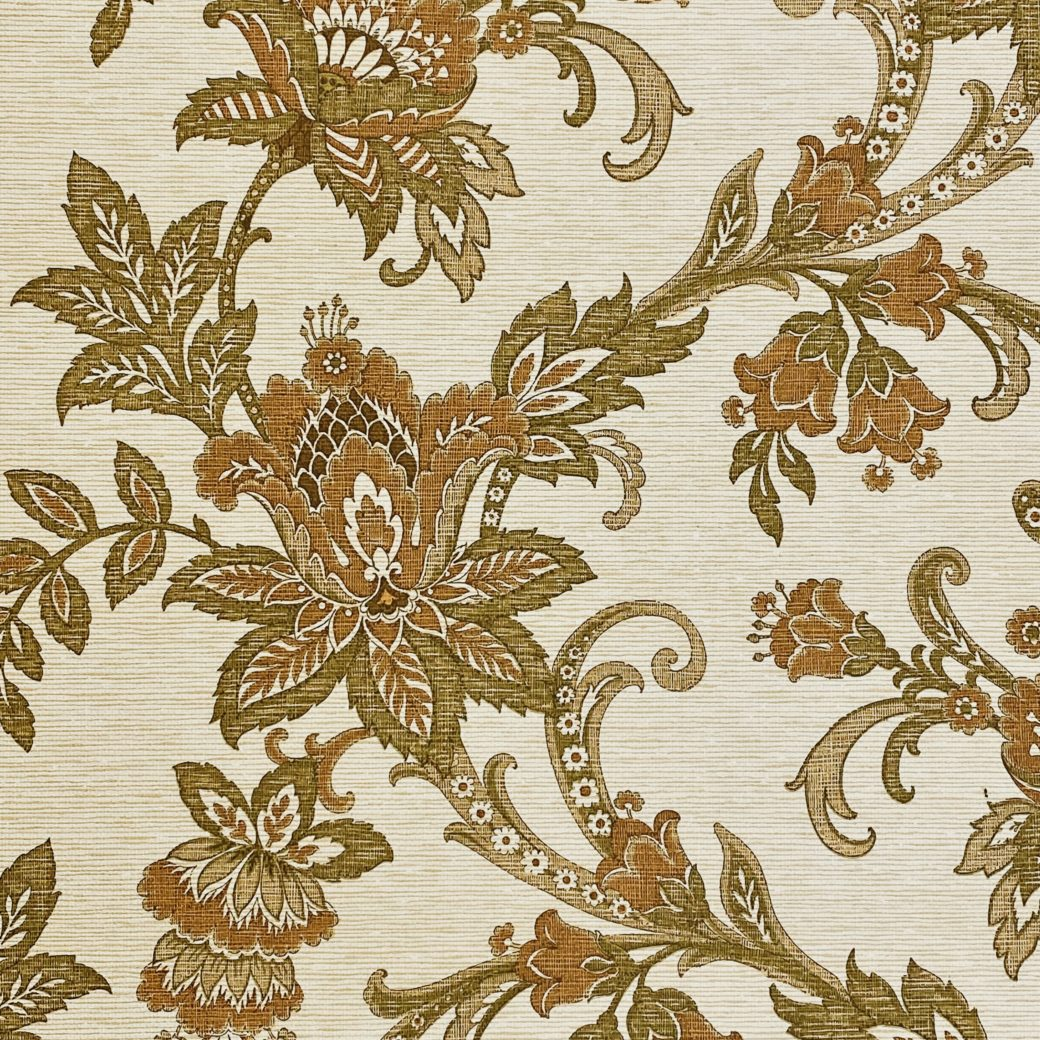 Vintage Paisley Wallpaper Brown and Green 4