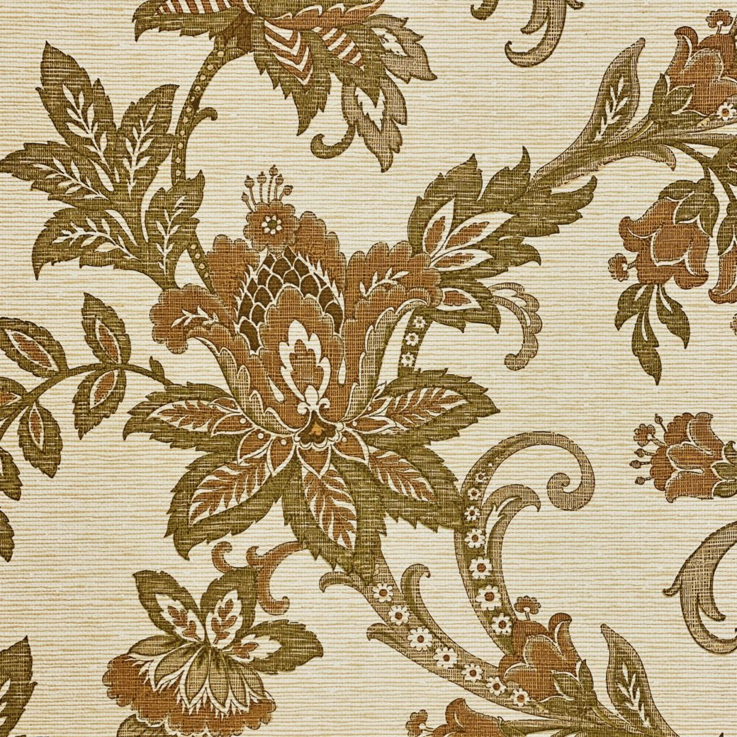 Vintage Paisley Wallpaper Brown and Green 5