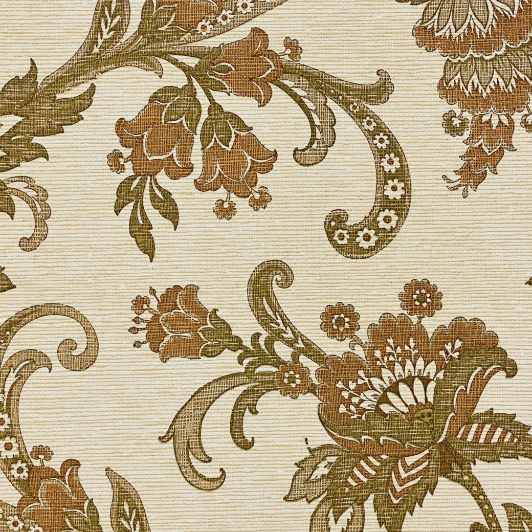 Vintage Paisley Wallpaper Brown and Green 6