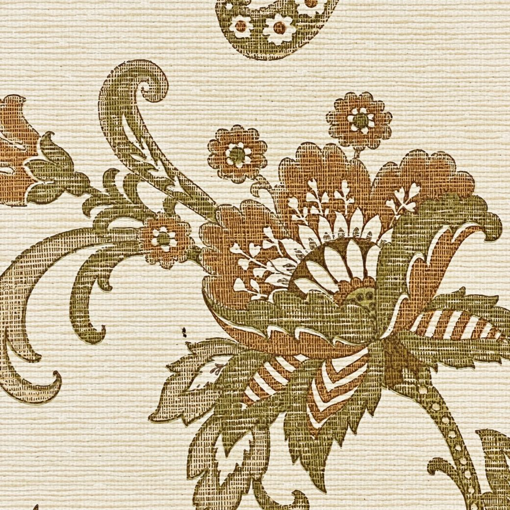 Vintage Paisley Wallpaper Brown and Green 7