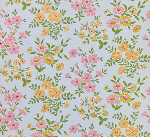 Vintage pink and orange floral wallpaper