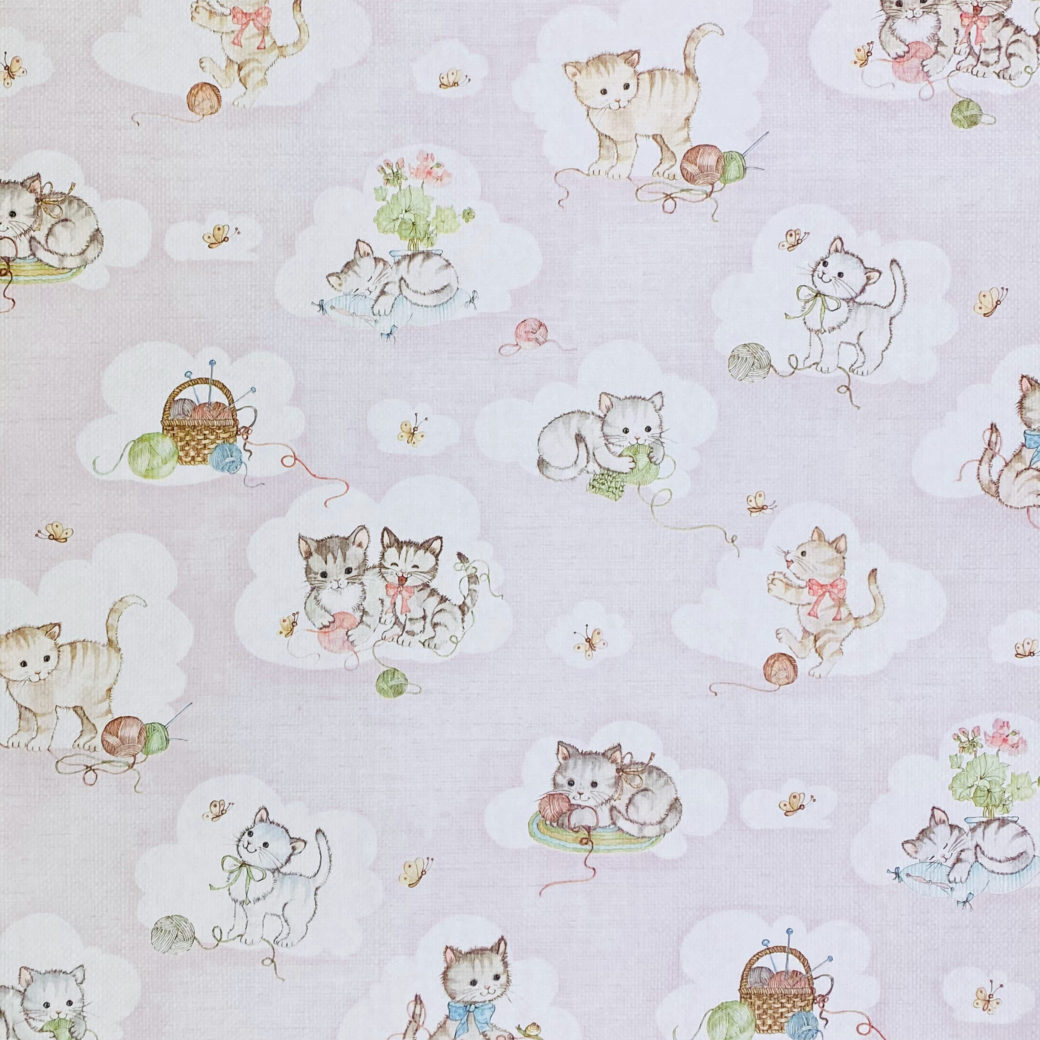 Vintage Pink Wallpaper with Cats 1
