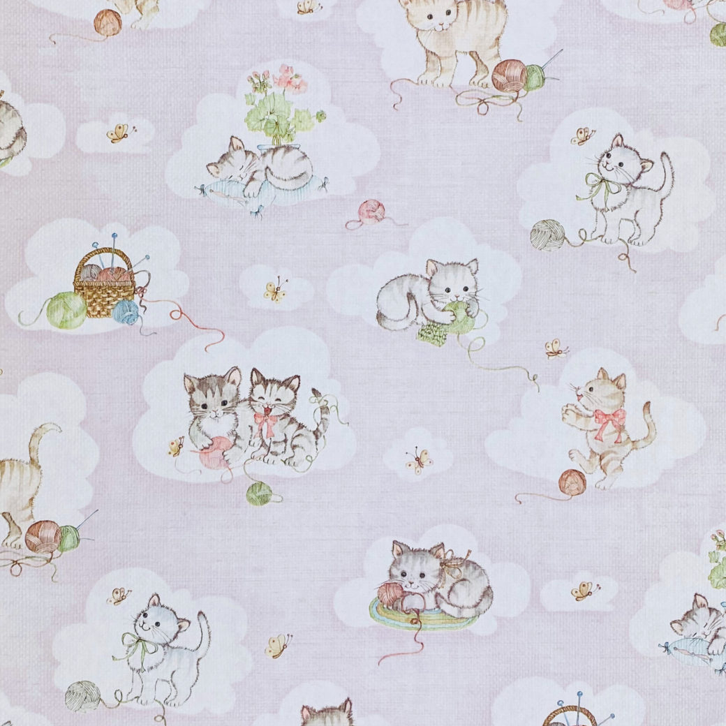 Vintage Pink Wallpaper with Cats 2