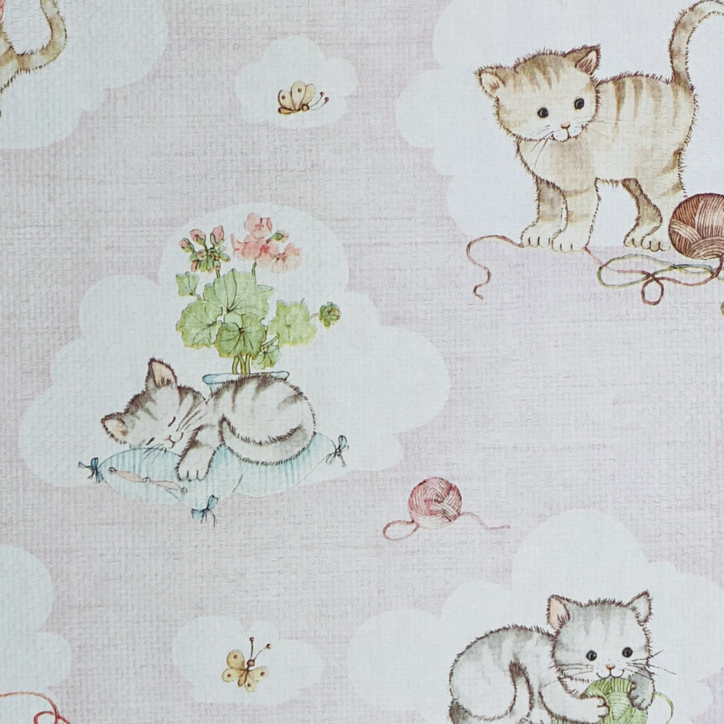 Vintage Pink Wallpaper with Cats 4