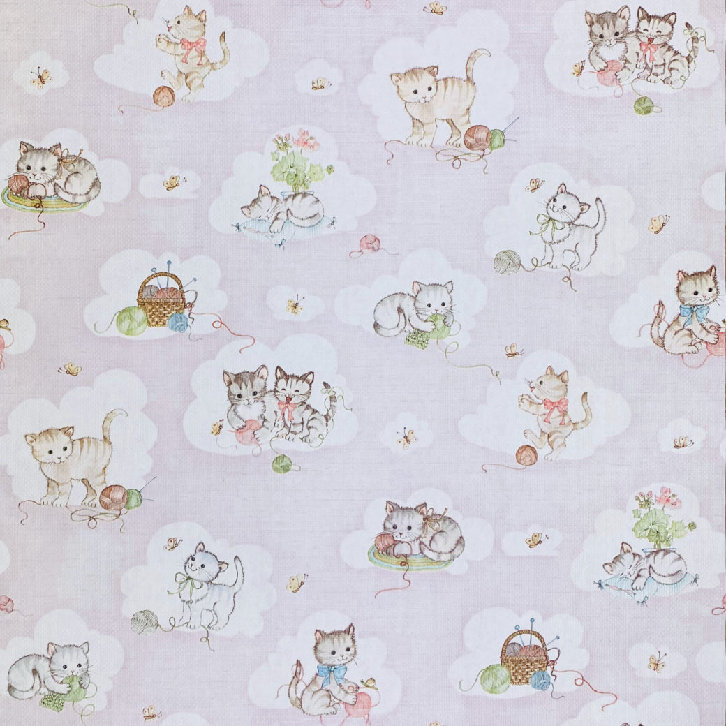 Vintage Pink Wallpaper with Cats