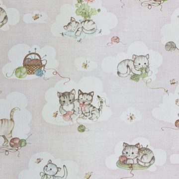 Vintage Pink Wallpaper with Cats 3